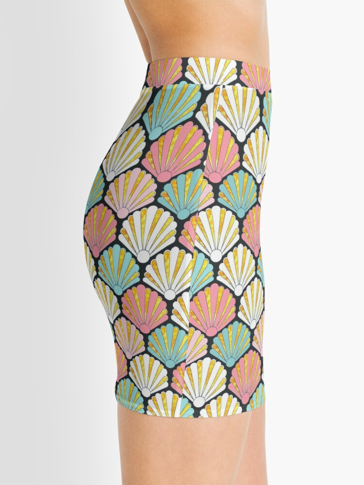 Alternate view of Coral pink and turquoise teal/ aqua seashell art deco pattern Mini Skirt