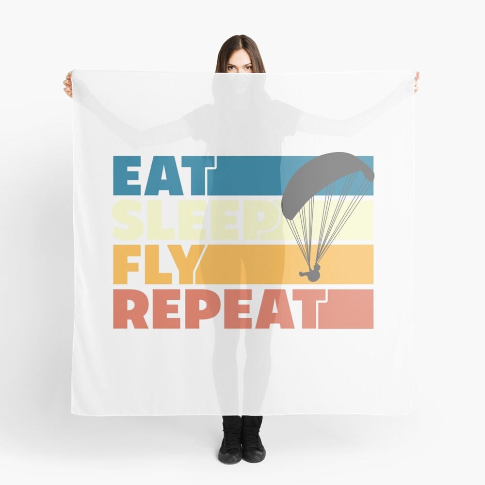Eat Sleep Fly Repeat Retro Style Scarf