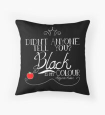 Black is my colour (white font, English spelling) Throw Pillow