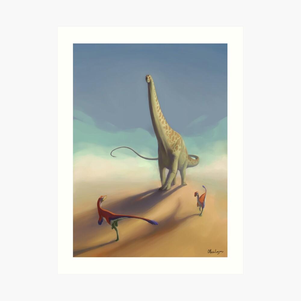 Diplodocus and Ornitholestes Art Print