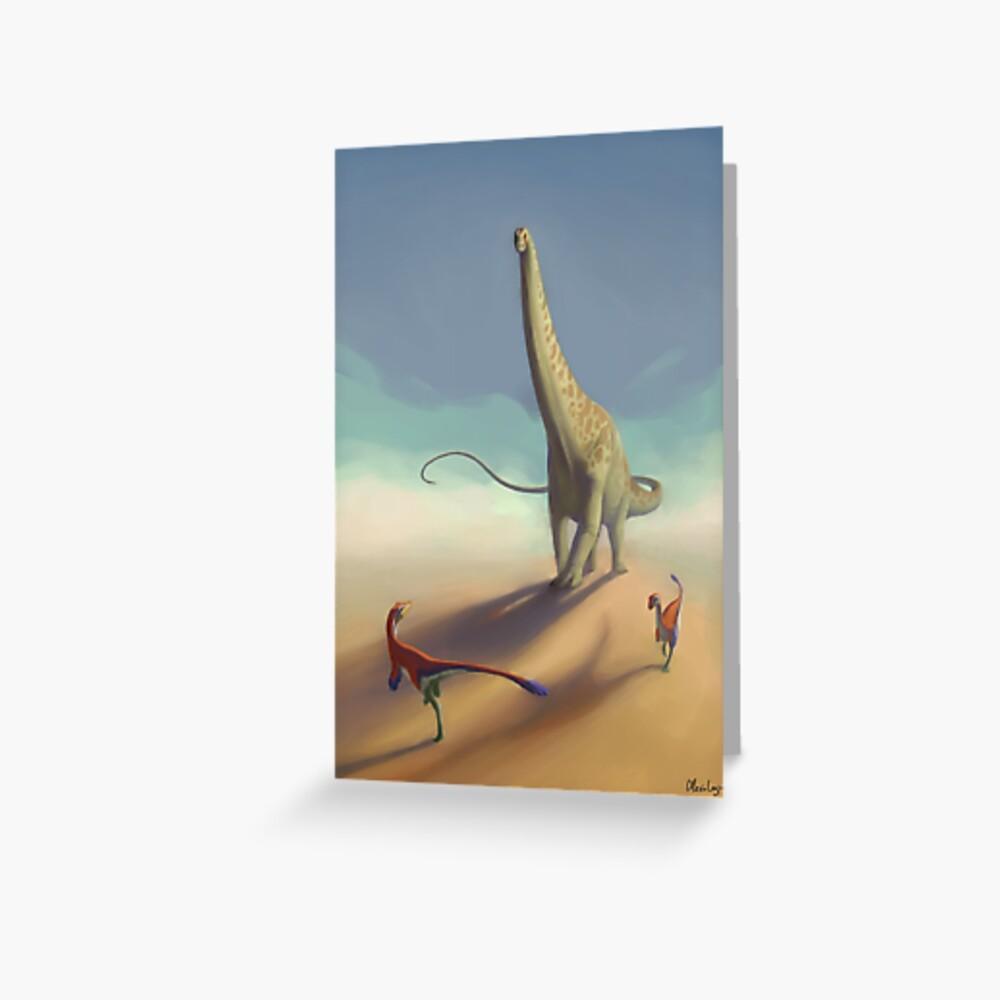 Diplodocus and Ornitholestes Greeting Card