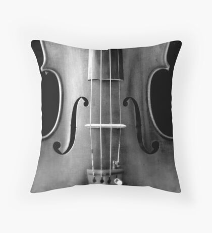 copy of Stradivarious 'Soil' 1714 (b&w) © 2010 patricia vannucci  Throw Pillow