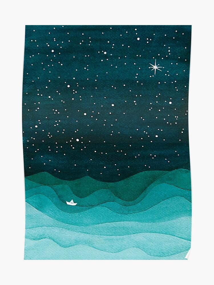 Starry Ocean Sarcelle Voilier Aquarelle Mer Vagues Nuit Poster