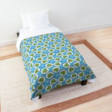 Frog Pattern Blue and Green - Cute Blue Frog Comforter