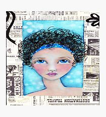 Whimiscal Girl with Curly Hair Photographic Print