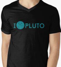 I <3 Pluto (teal) Men's V-Neck T-Shirt