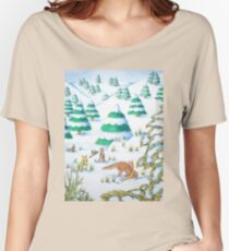 cute fox and rabbits christmas snow scene Women's Relaxed Fit T-Shirt