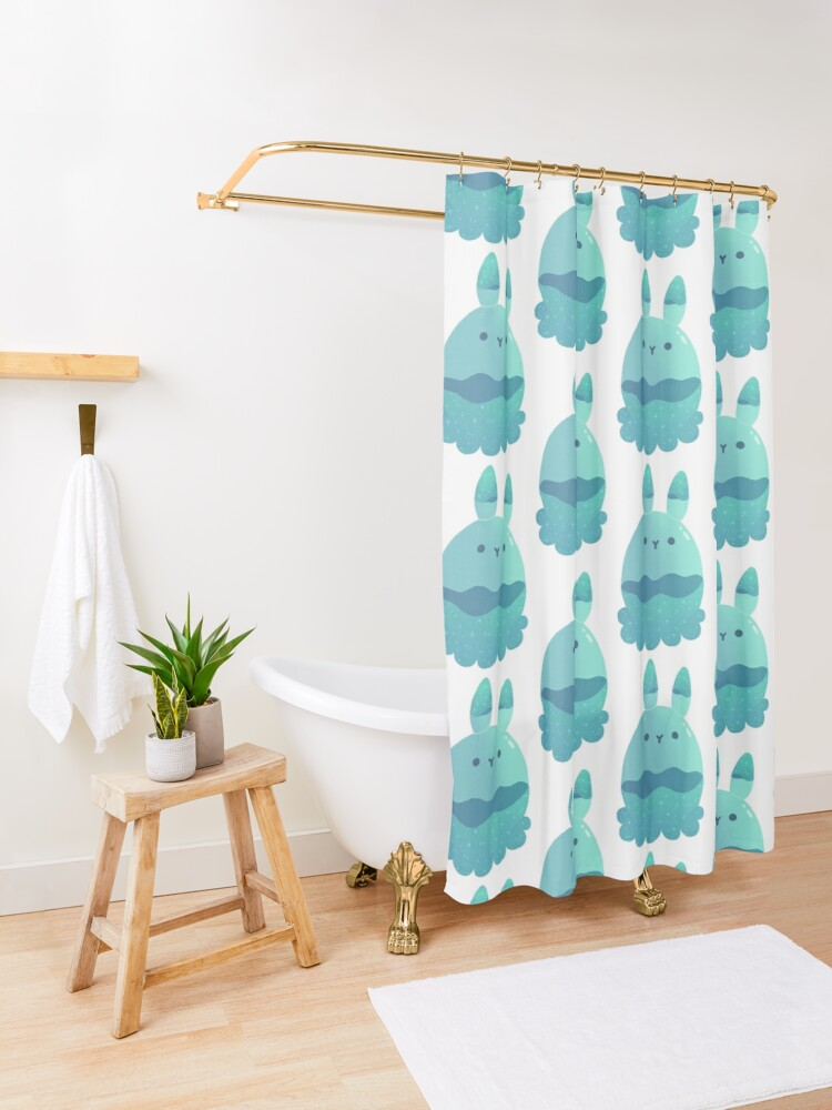 Alternate view of Water Bunny Shower Curtain