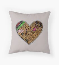 Wooden Heart Love Wins Throw Pillow