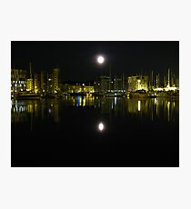 Full Moon Over Ipswich Waterfront  Photographic Print