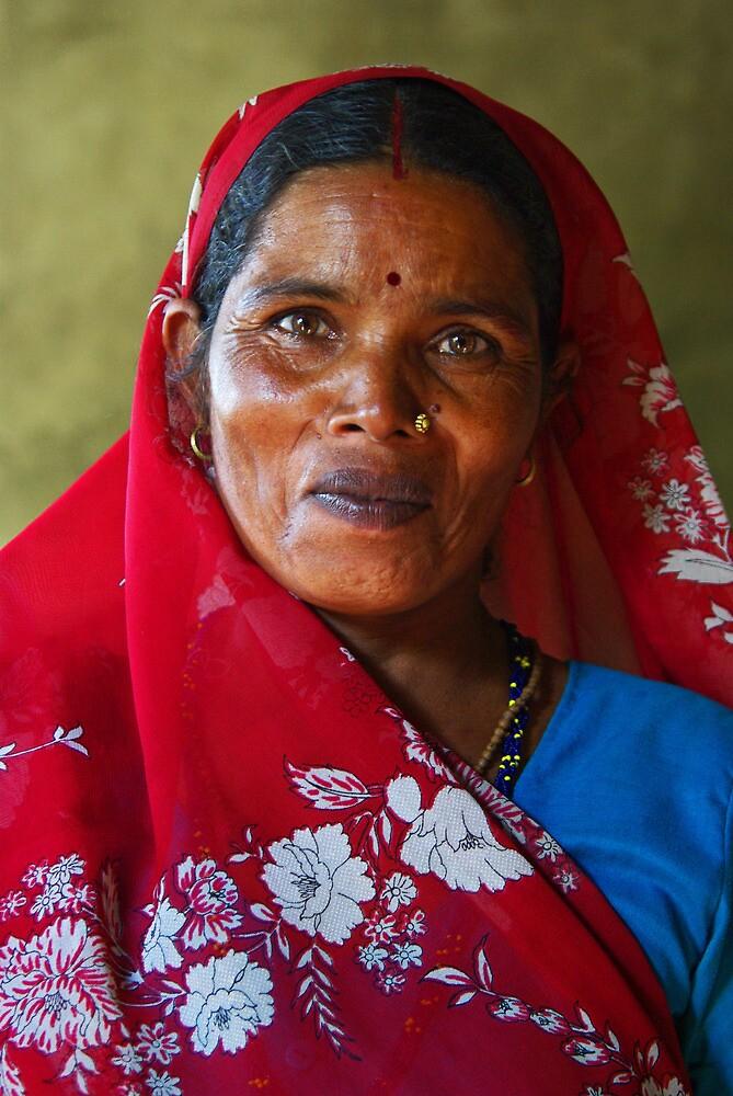 Lady in Red - Near Janakpur, Nepal by AlliD