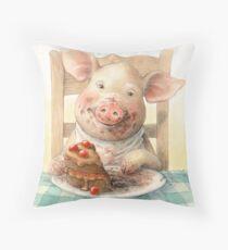 Piggy Loves Choco Cake Throw Pillow