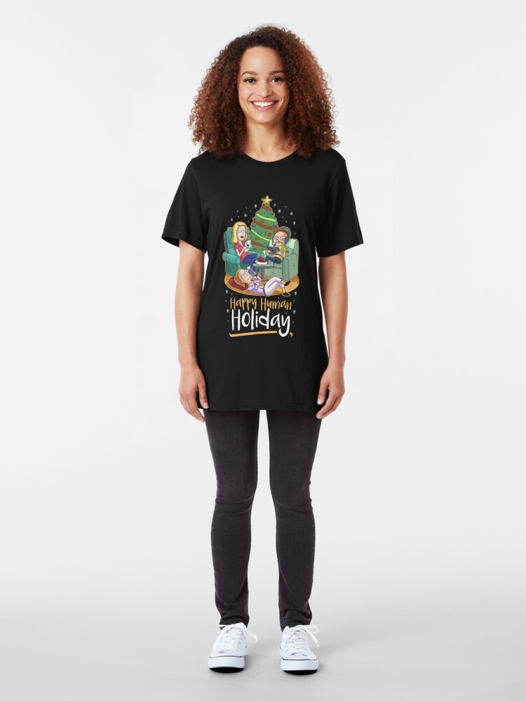Alternate view of Christmas Happy Human Holiday Slim Fit T-Shirt