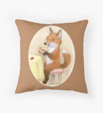 Fox Loves Berries Throw Pillow
