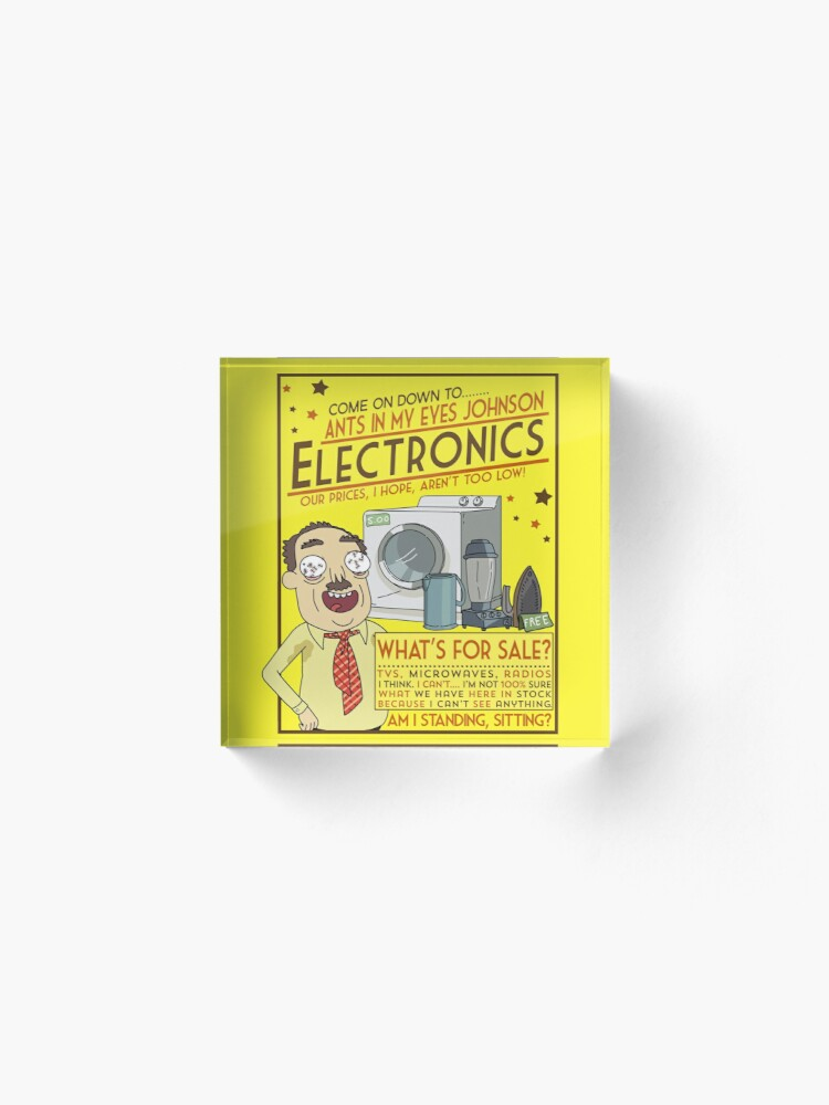 Alternate view of Funny Rick and Morty Ants In My Eyes Johnson Electronics Advertisement Acrylic Block