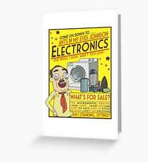 Funny Rick and Morty Ants In My Eyes Johnson Electronics Advertisement Greeting Card