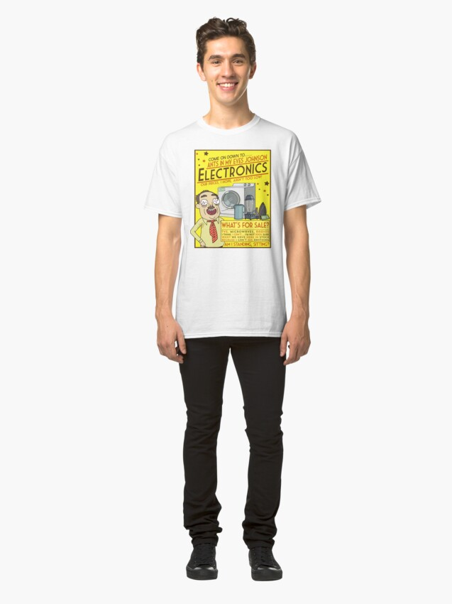 Alternate view of Funny Rick and Morty Ants In My Eyes Johnson Electronics Advertisement Classic T-Shirt