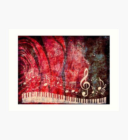 Klaviertastatur mit Musik merkt Grunge 2 Kunstdruck