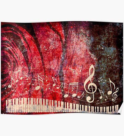 Klaviertastatur mit Musik merkt Grunge 2 Poster