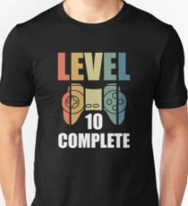 Camiseta ajustada Level 10 Completed Gamer Happy Birthday