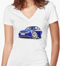 Ford Mondeo ST 220 Blue Women's Fitted V-Neck T-Shirt