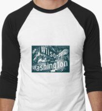 Wilson Avenue & Washington Boulevard1, Pasadena, CA by MWP Baseball ¾ Sleeve T-Shirt