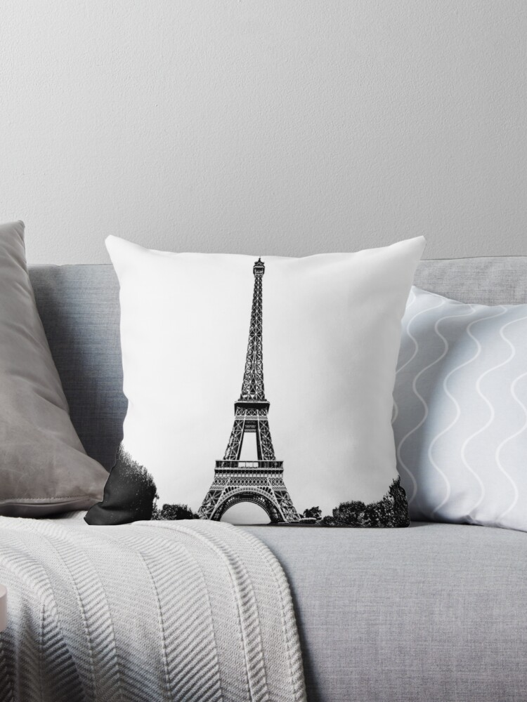 \'Eiffel Tower Black And White Drawing\' Throw Pillow by Chantal15