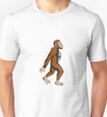 Neanderthal Man Walking Side Cartoon Unisex T-Shirt