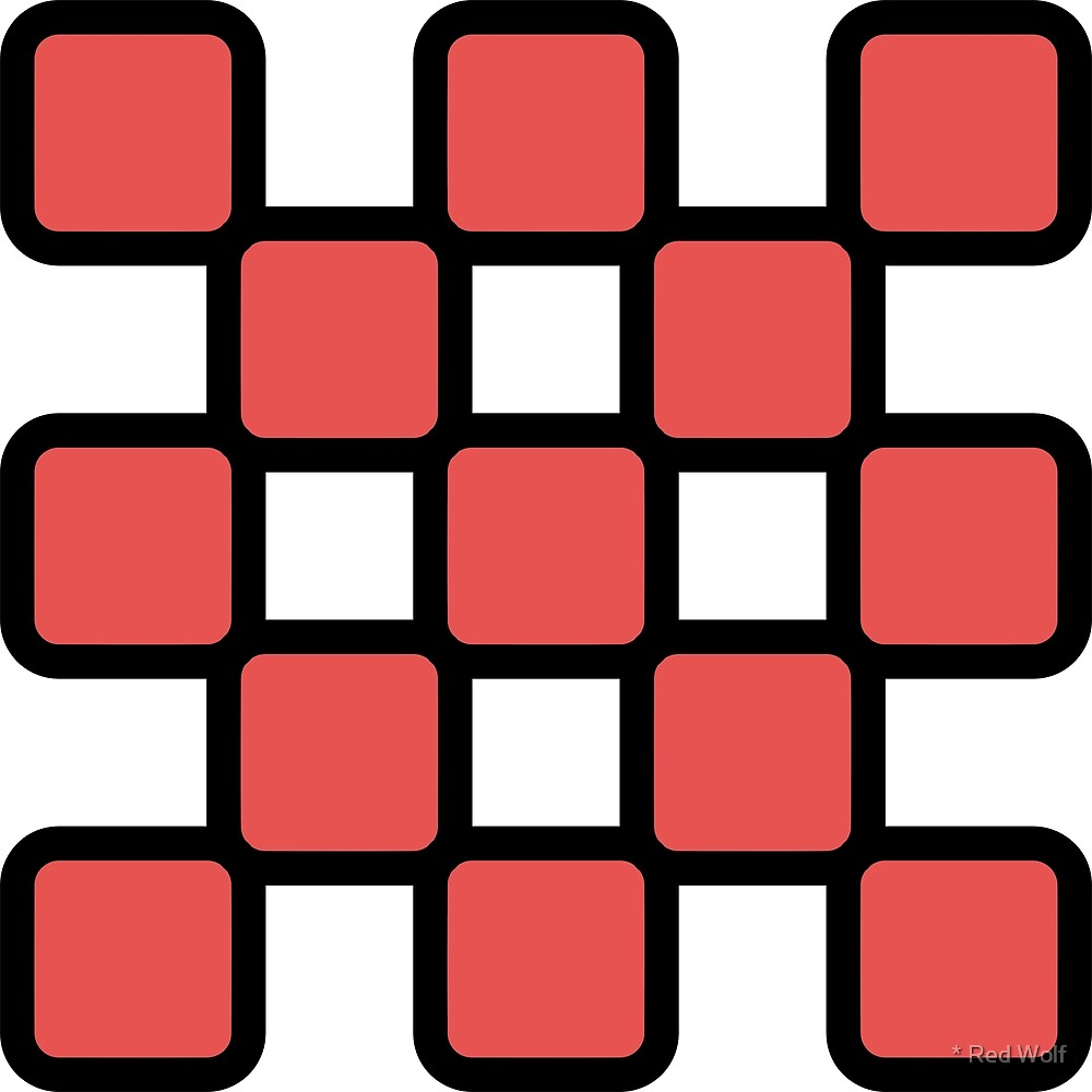 Geometric Pattern: Rounded Weave: Black/Red by * Red Wolf
