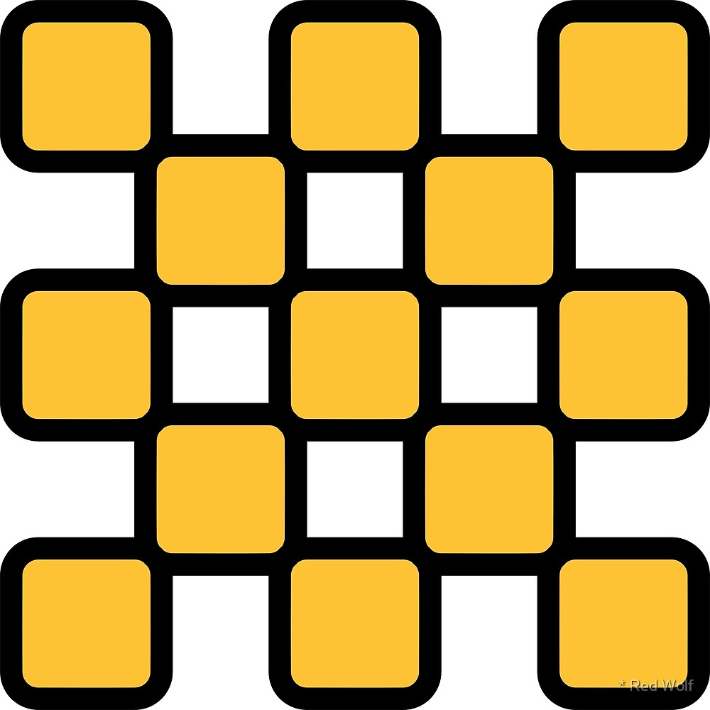 Geometric Pattern: Rounded Weave: Black/Yellow by * Red Wolf