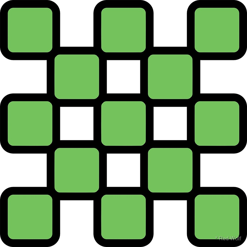 Geometric Pattern: Rounded Weave: Black/Green by * Red Wolf