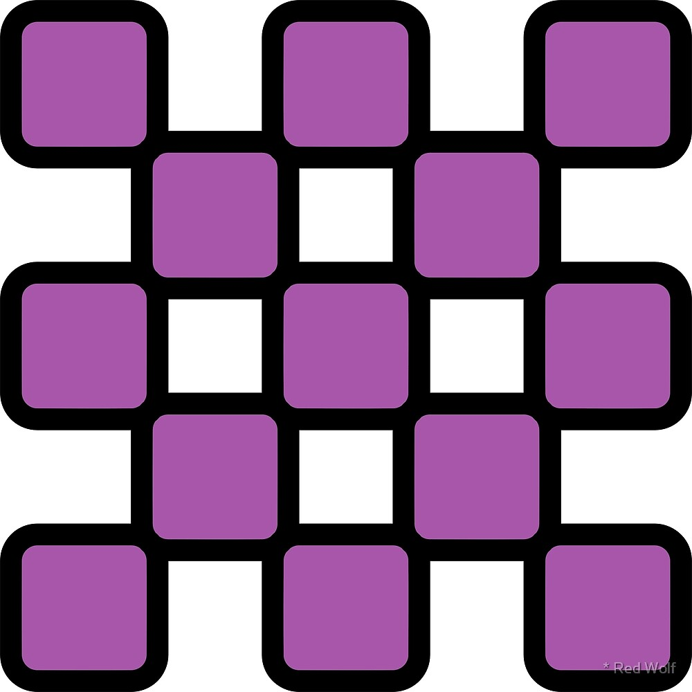 Geometric Pattern: Rounded Weave: Black/Purple by * Red Wolf