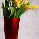 Yellow Tulips in Red Vase by Wendy Kennedy