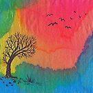Einsamer Baum in der Regenbogenlandschaft von CarolineLembke