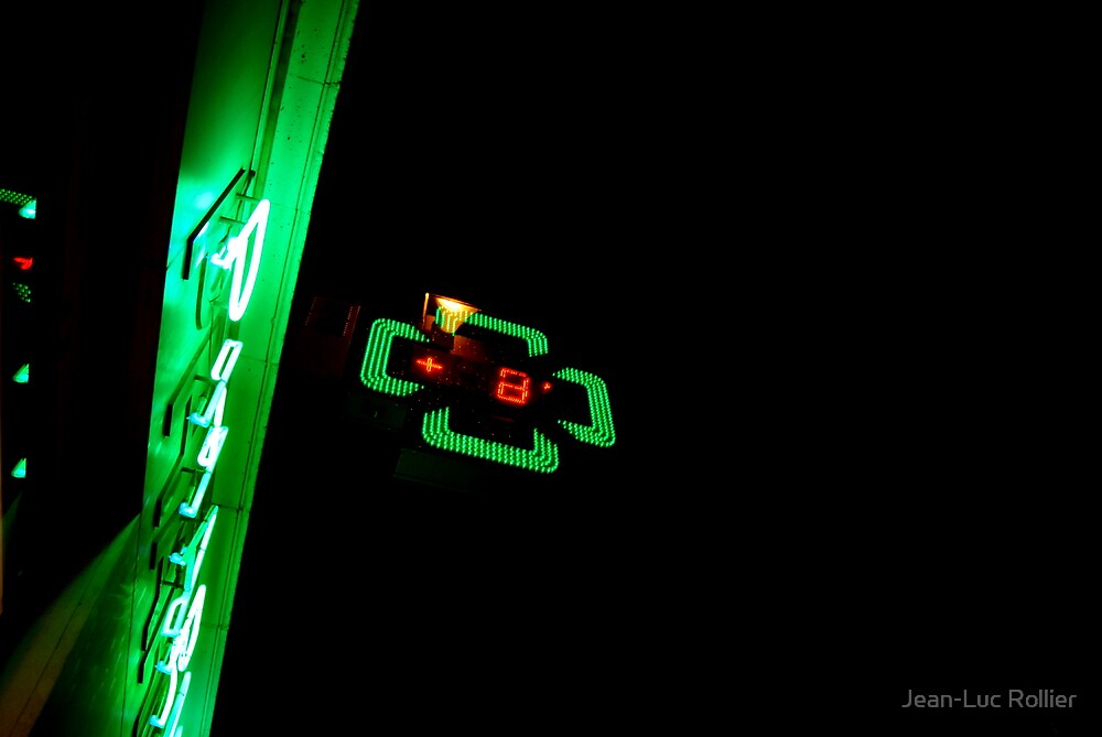 Green neon in the night by Jean-Luc Rollier
