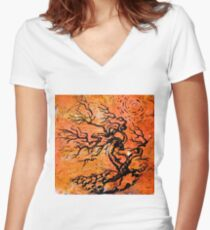 Old and Ancient Tree - Orange Tones  Women's Fitted V-Neck T-Shirt