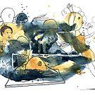 « Aquarelle bleu et jaune de Naple n°4 » par Vincent Debats