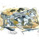 « Aquarelle bleu et jaune de Naple n°8 » par Vincent Debats