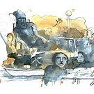 « Aquarelle bleu et jaune de Naple n°9 » par Vincent Debats