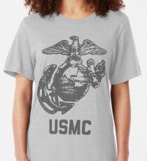 Vintage Gray USMC Logo Slim Fit T-Shirt