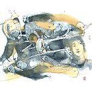 « Aquarelle bleu et jaune de Naple n°13 » par Vincent Debats