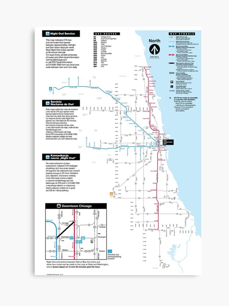 Vereinigte Staaten von Amerika - Chicago - CTA Night Owl Map - HD    Leinwanddruck
