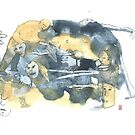 « Aquarelle bleu et jaune de Naple n°15 » par Vincent Debats