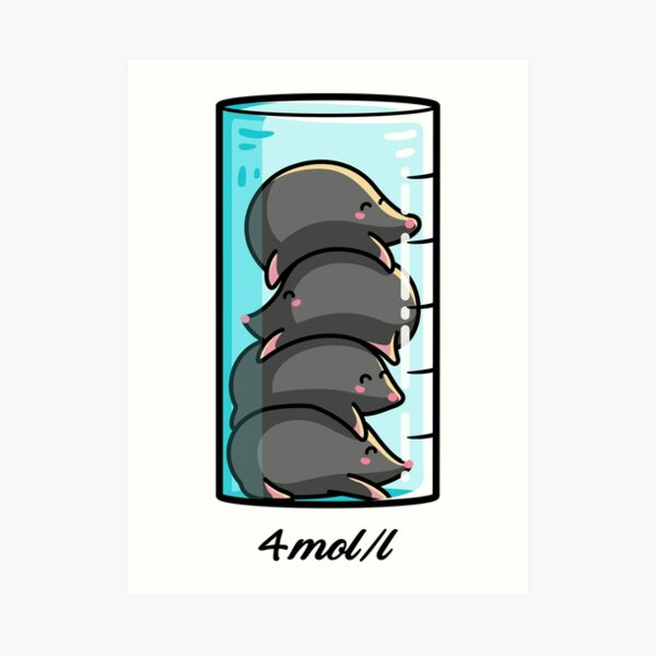 4 Moles Per Litre Chemistry Science Joke Art Print