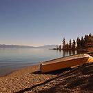Yellow Boat on Lake Tahoe by Tom Deters
