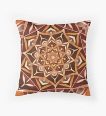 taupe and red mandala Throw Pillow