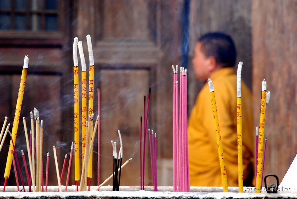 Ping Yao - Monk and incense. by Jean-Luc Rollier