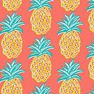 Pineapple on coral, summer retro sunshine happy! by MagentaRose