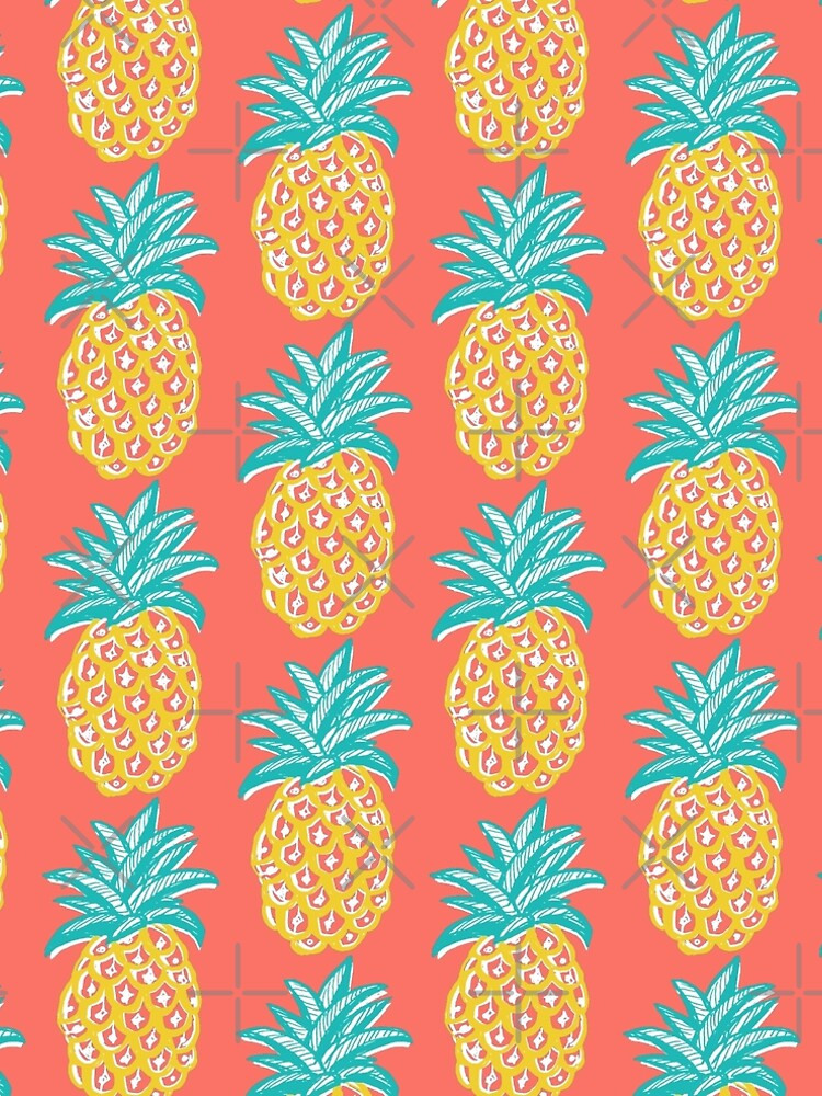 Pineapple on coral, summer retro sunshine happy! by MagentaRose