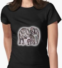 Mother Elephant  Womens Fitted T-Shirt